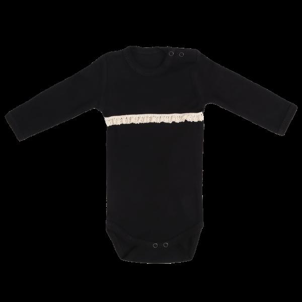 Mamatti Dětské bavlněné body s krajkou, Mašle - černé, vel. 74, Velikost: 74 (6-9m)