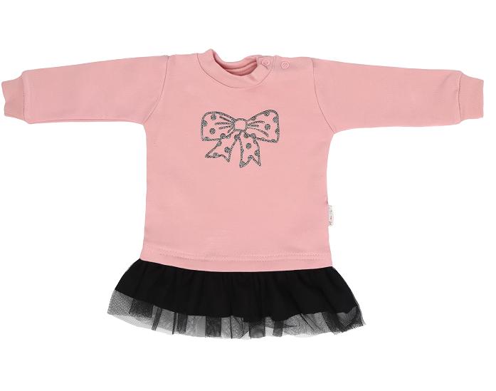 Mamatti Dětské tričko,tunika s černým týlem Mašle - pudrové, vel. 98