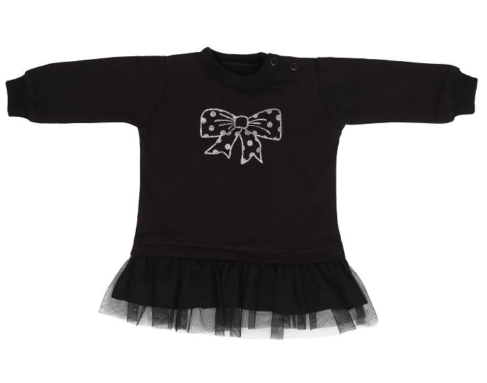 Mamatti Dětské tričko,tunika s černým týlem Mašle - černé, vel. 86
