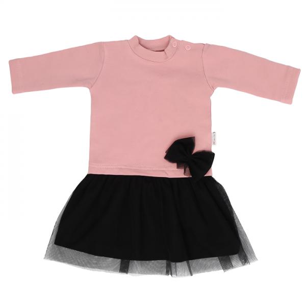 Mamatti Dětské šaty s černým týlem Mašle - pudrové, vel. 98
