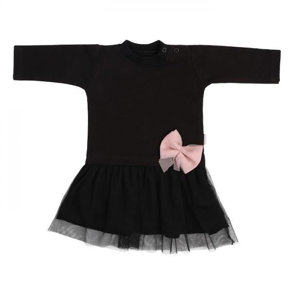 Mamatti Dětské šaty s černým týlem Mašle - černé, vel. 98