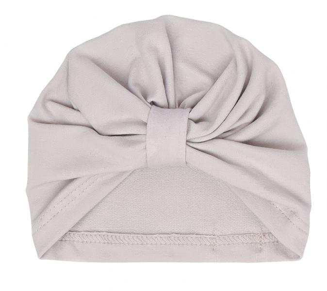 Mamatti Bavlněná  dětská čepice - turban, Louka - šedá