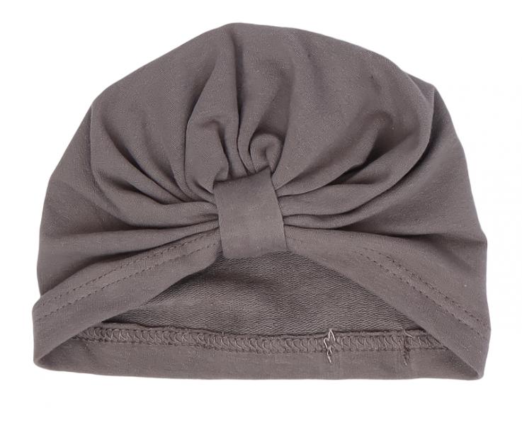 Mamatti Bavlněná  dětská čepice - turban, Louka - šedá, vel. 2 - 3 rok