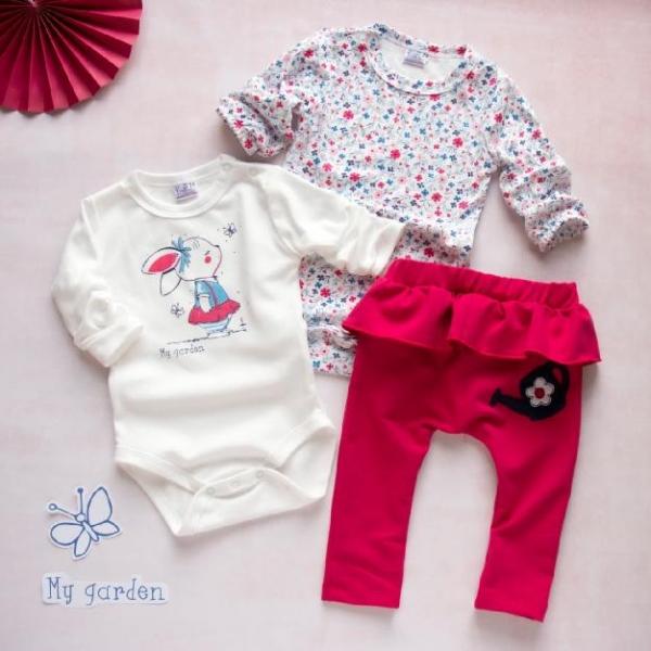 K-Baby 3 dílná sada - 2x body dlouhý rukáv, tepláčky - Králíček, červená, bílá, vel. 68