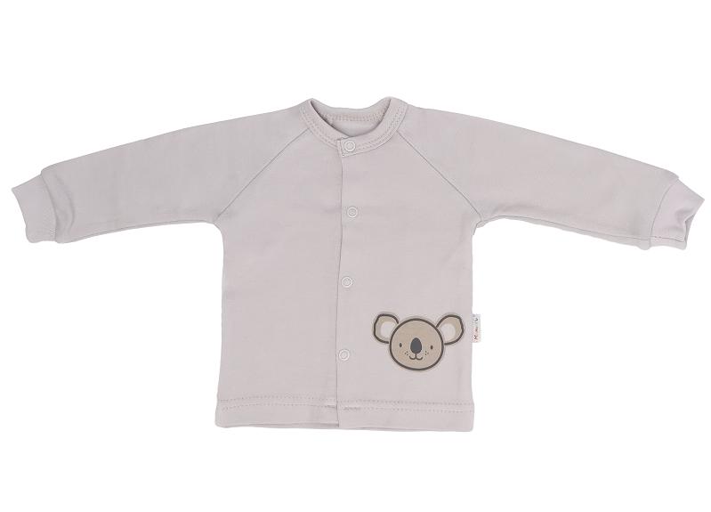 Mamatti Novozenecká bavlněná košilka, kabátek Koala - šedá, vel. 68