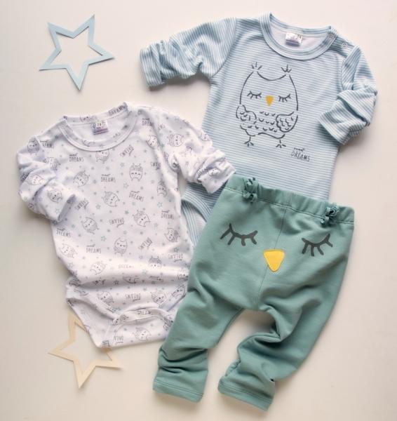K-Baby 3 dílná sada - 2x body dlouhý rukáv, tepláčky - Sova, mátová, modrá, vel. 68