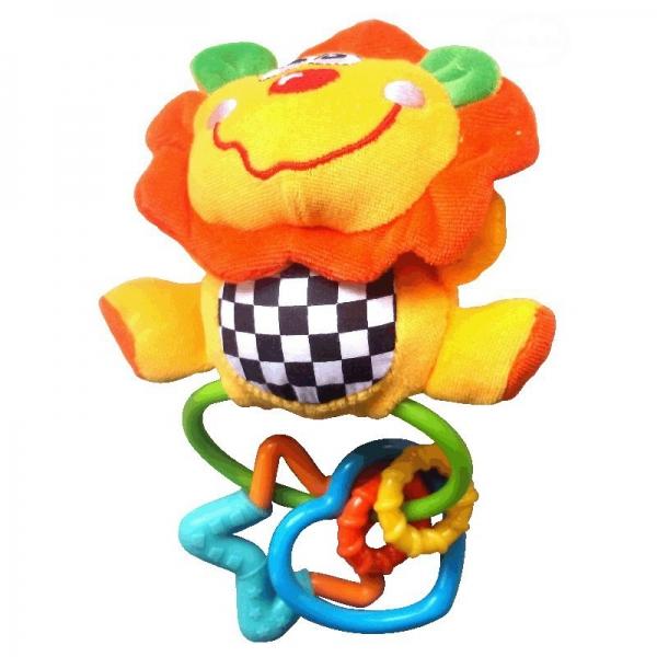 Euro Baby Plyšová hračka s kousátkem a pískátkem  - Lev - žlutá