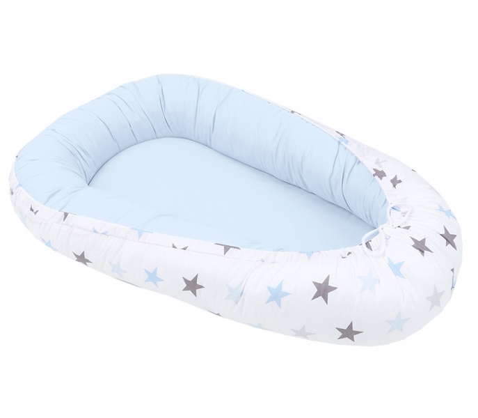 Mamo Tato Oboustranné hnízdečko - kokon pro miminko - Big Stars - modré