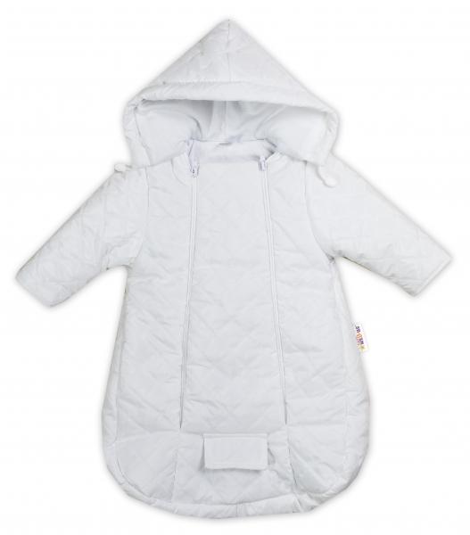 Kombinézka s kapucí do autosedačky, kočárku Lux Baby Nellys ®prošívaná - bílá, Velikost: 56 (1-2m)