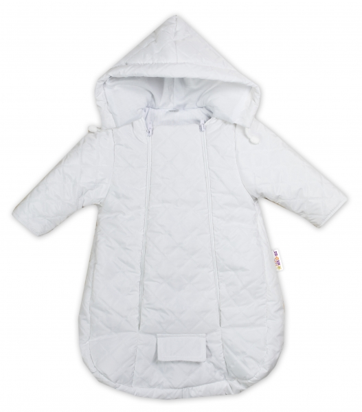 Kombinézka s kapucí do autosedačky, kočárku Lux Baby Nellys ®prošívaná - bílá, vel. 74