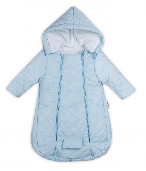 Kombinézka s kapucí do autosedačky, kočárku Lux Baby Nellys ®prošívaná - modrá, vel. 62, Velikost: 62 (2-3m)
