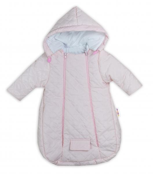 Kombinézka s kapucí do autosedačky, kočárku Lux Baby Nellys ®prošívaná - růžová, vel. 62