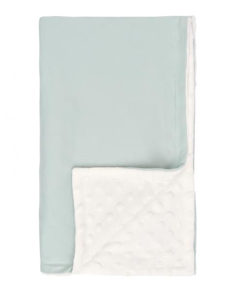 Mamatti Dětská oboustranná bavlněná deka s minky,Super Boy - 75 x 90 cm, mátová-bílá