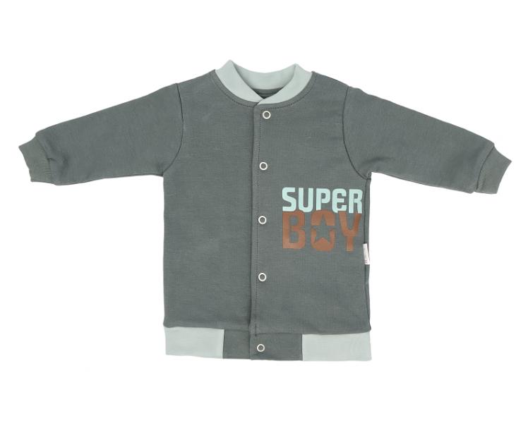 Mamatti Bavlněná dětská mikina Super Boy - zelená, vel. 98, Velikost: 98 (24-36m)