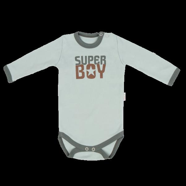 Mamatti Dětské bavlněné body Super Boy - mátové, vel. 80, Velikost: 80 (9-12m)