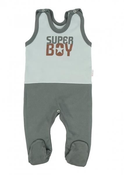Mamatti Kojenecké dupačky Super Boy, zelená- mátová, vel. 56, Velikost: 56 (1-2m)