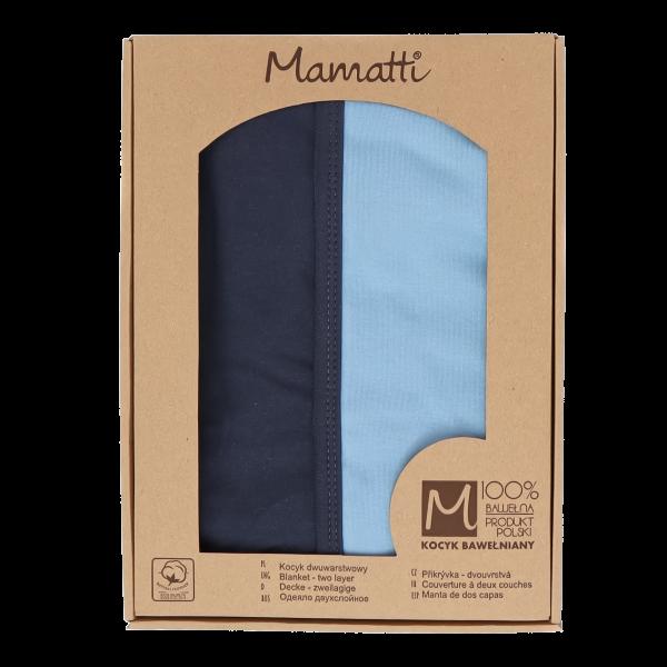 Mamatti Dětská oboust. bavl. deka, Happy - 80 x 90 cm, v dárk. krabičce, modrá-granát