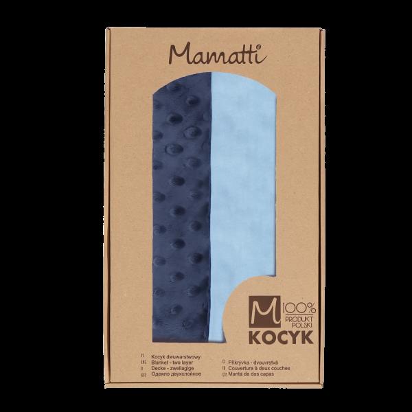 Mamatti Dětská oboustranná bavlněná deka s minky, Happy - 75 x 90 cm, granát-modrá