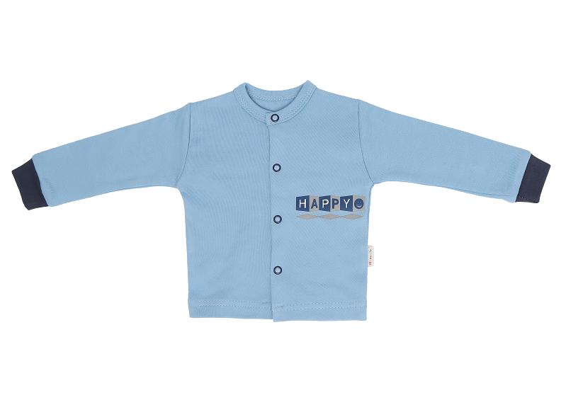 Mamatti Novozenecká bavlněná košilka, kabátek Happy - modrá, vel. 68