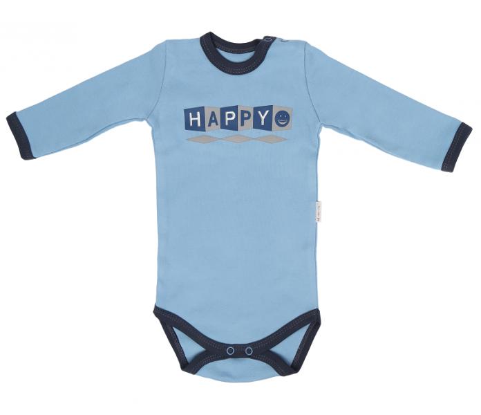 Mamatti Dětské bavlněné body Happy - modré, vel. 74, Velikost: 74 (6-9m)