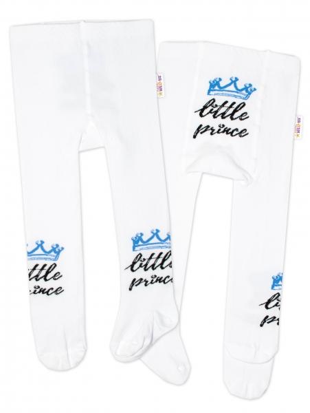 Baby Nellys Dětské punčocháče bavlněné, Little Prince - bílé s modrou korunkou, Velikost: 62/74