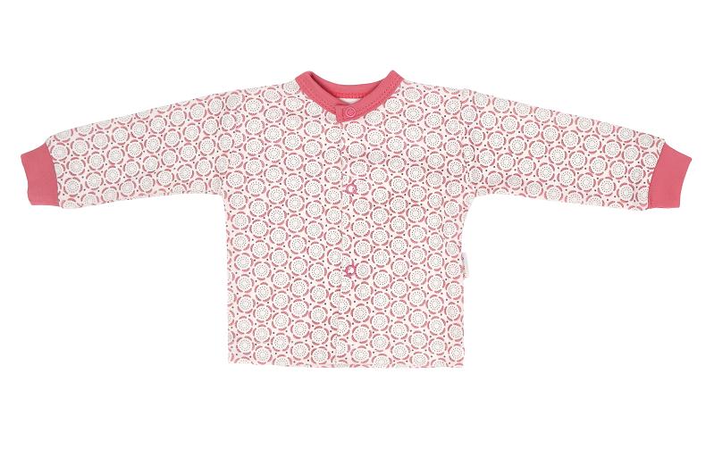 Mamatti Novozenecká bavlněná košilka, kabátek s krajkou, Rozeta - růžová
