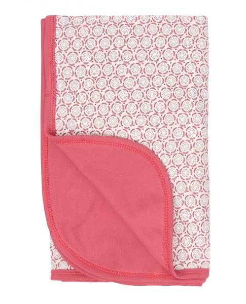 Mamatti Dětská oboustranná bavlněná deka, Rozeta - 80 x 90 cm, ecru-růžová