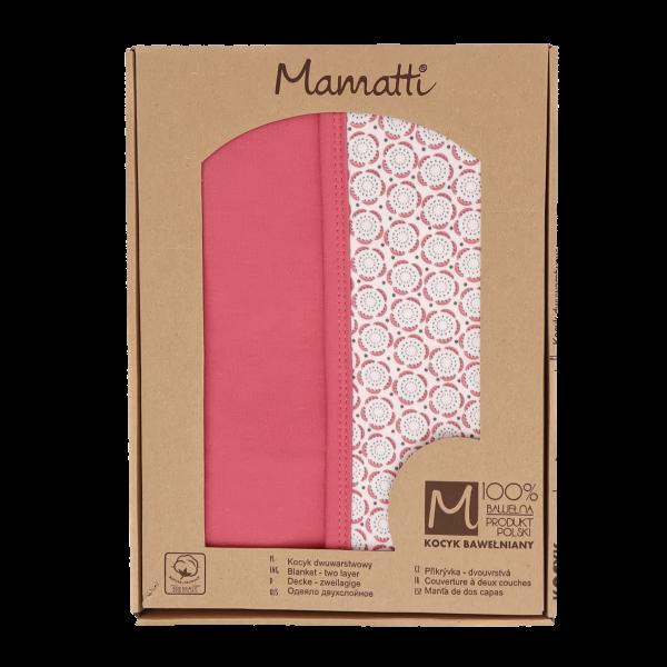 Mamatti Dětská oboustranná bavlněná deka, Rozeta v dárk. krabičce - 80x90 cm