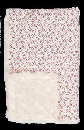 Mamatti Dětská oboustranná bavlněná deka s minky, Rozeta - 75 x 90 cm, ecru-růžová