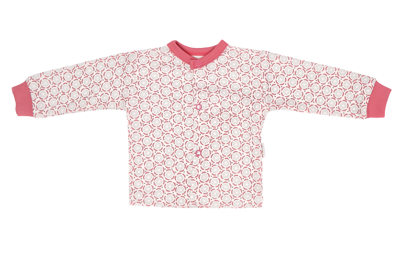 Mamatti Novozenecká bavlněná košilka, kabátek s krajkou, Rozeta - růžová, vel. 74