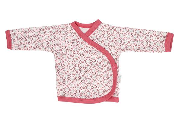 Mamatti Novozenecká bavlněná košilka zapínání bokem, Rozeta - růžová, vel. 62