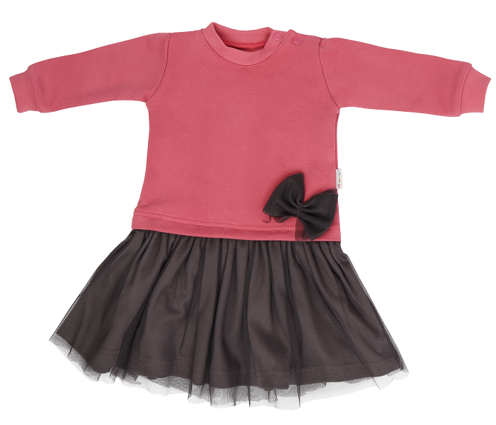 Mamatti Kojenecké šaty s šedým týlem Rozeta - růžovo-šedá