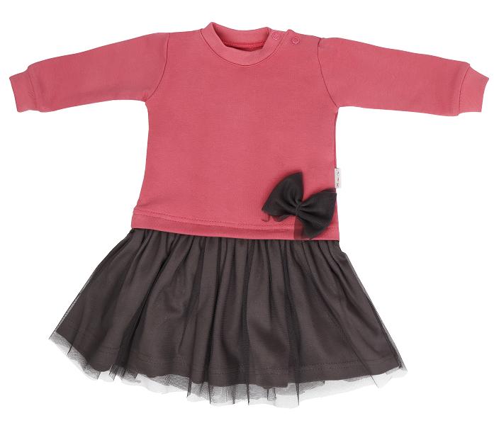 Mamatti Dětské šaty s šedým týlem, Rozeta - růžovo-šedá, vel. 86