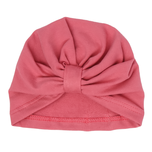 Mamatti Bavlněná  dětská čepice - turban, Rozeta - růžová