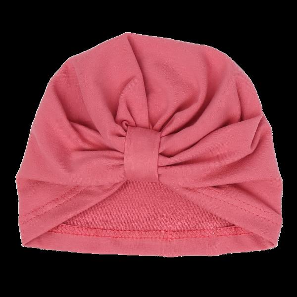 Mamatti Bavlněná  dětská čepice - turban, Rozeta - růžová, vel. 2-3 roky