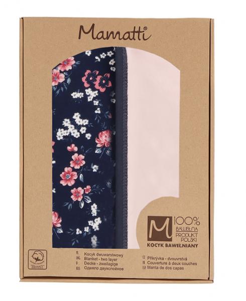 Mamatti Dětská oboustranná bavlněná deka, Flowers v dárk. krabičce - 80x90 cm