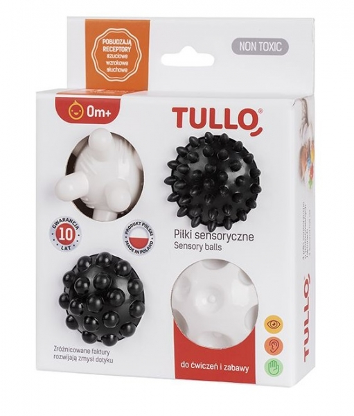 TULLO Edukační barevné míčky 4ks v krabičce, bílo-černá