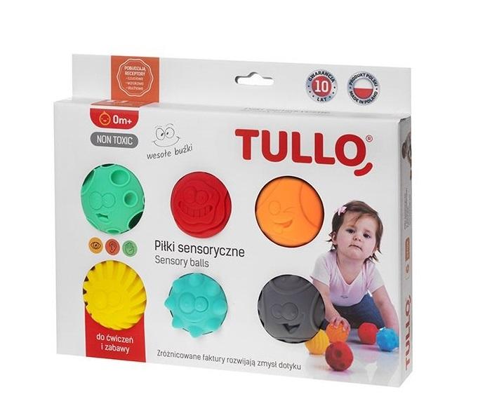 TULLO Edukační barevné míčky 6ks v krabičce, smajlíci