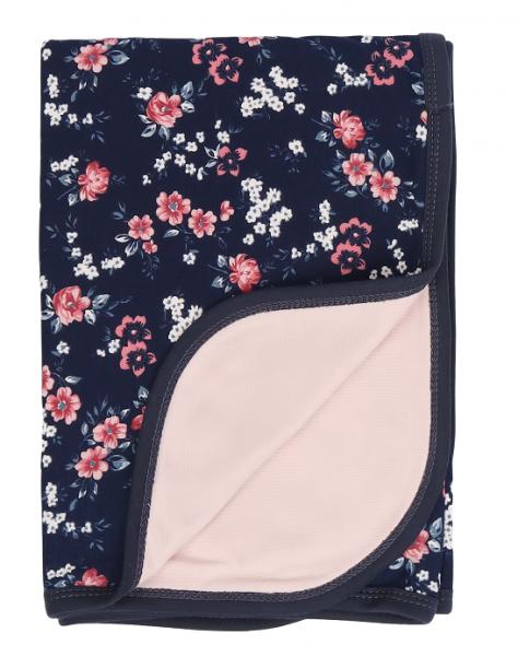 Mamatti Dětská oboustranná bavlněná deka, Flowers - 80 x 90 cm, granát,sv. růžová