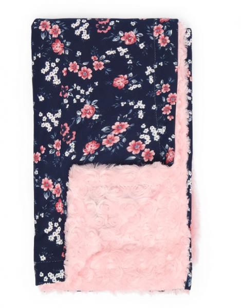 Mamatti Dětská oboustranná bavlněná deka s minky, Flowers - 75 x 90 cm, granát-růžová