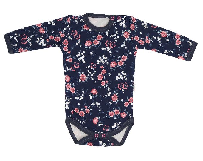 Mamatti Dětské bavlněné body Flowers, granátové s kvítky, vel. 86