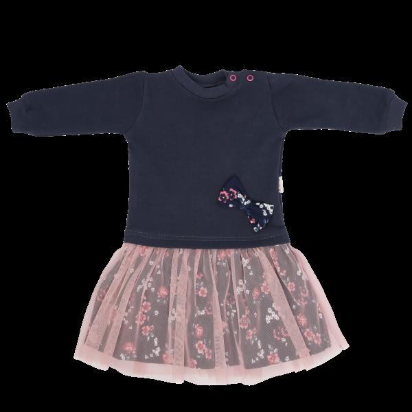 Mamatti Dětské šaty s růžovým týlem Flowers, granátovo-růžové, vel. 98