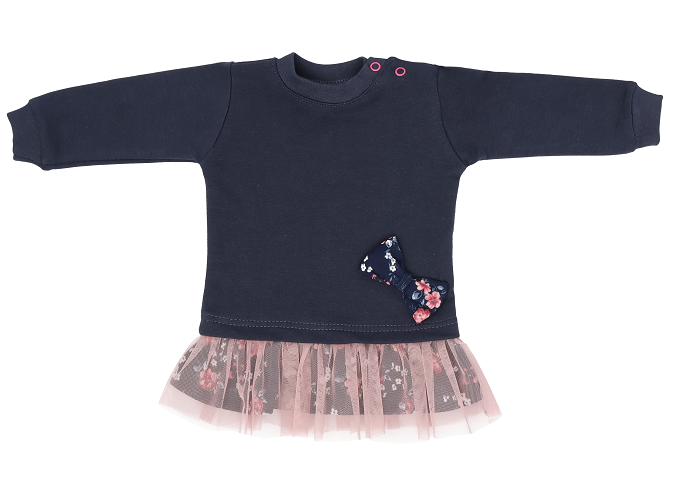 Mamatti Kojenecké tričko,tunika s růžovým týlem Flowers - granátové, vel. 80