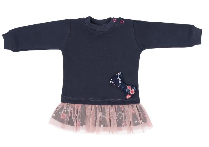 Mamatti Dětské tričko,tunika s růžovým týlem Flowers - granátové, vel. 86