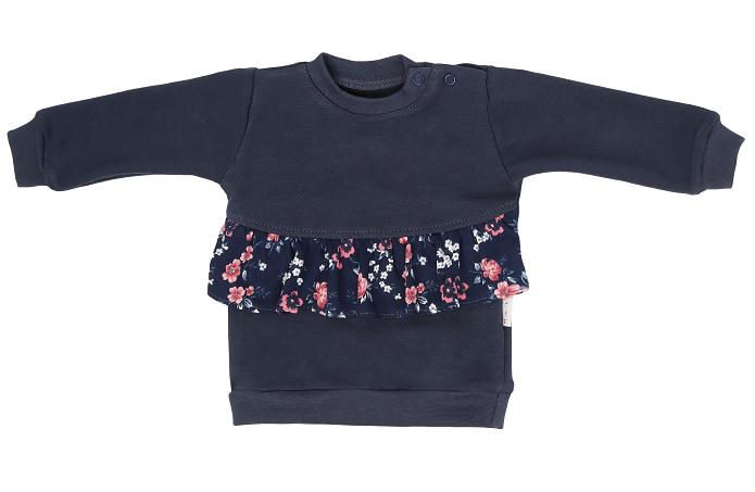 Mamatti Dětská mikina Flowers, s bočním zapínáním - granátová, Velikost: 68 (4-6m)