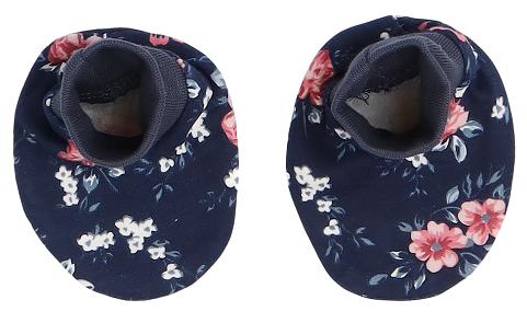 Mamatti Kojenecké botičky, ponožtičky Flowers - granátové s kvítky