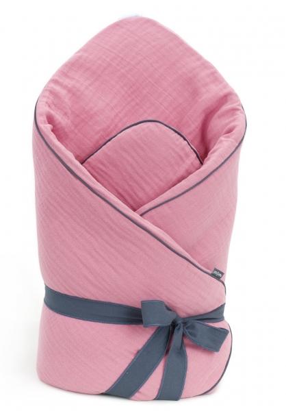 Mamo Tato Kojenecká zavinovačka, mušelinová double na zavazování, 70x70cm - starorůžová