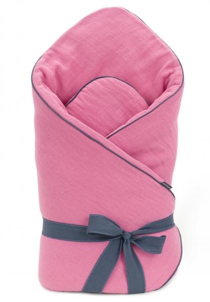 Mamo Tato Kojenecká zavinovačka, mušelinová double na zavazování - růžová