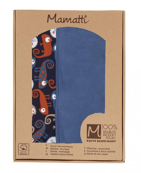 Mamatti Dětská oboust. bavl. deka, Chameleon - 80 x 90 cm, v dárk. krabičce, granát