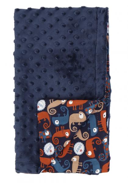 Mamatti Dětská oboustranná bavlněná deka s minky, Chameleon - 75 x 90 cm, granát